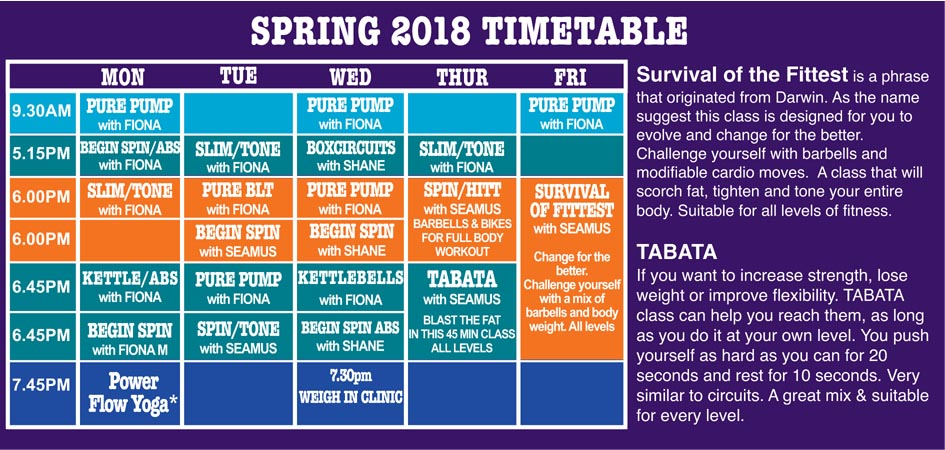 Spring Timetable 2018